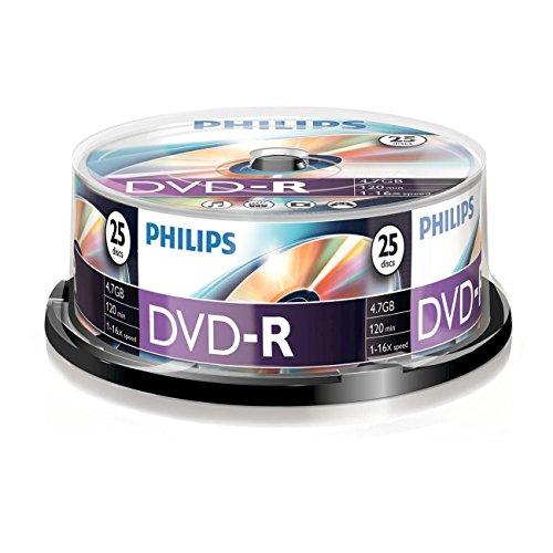 Philips DVD-R DM4S6B25F/00 - DVD+RW vírgenes (4,7 GB, DVD-R, 120 min, 16x)