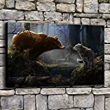 wZUN Arte Moderno decoración del hogar Pared Animal Oso y Lobo Bosque Imagen HD Tipo de impresión Lienzo Pintura 50x70cm
