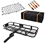 USSerenaY Hitch Cargo Carrier - Trailer Hitch Luggage Rack with Net, Waterproof Cargo Bag and 2 Reinforced Straps - Folding Car Hitch Mount Cargo Carrier L60' X W20' X H6' 550lbs Capacity