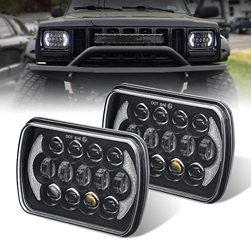 (Pair) 5''x7'' 6''x7'' High Low Beam Led Headlights Compatible with Jeep Wrangler YJ Cherokee XJ H6054 H5054 H6054LL 69822 6052 6053 with Angel Eyes DRL (Black 105w Osram Chips)