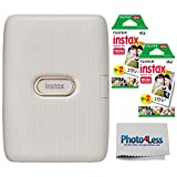 Fujifilm Instax Mini Link Smartphone Printer (Beige Gold) + Fuji Instax Mini Film (40 Sheets) -...