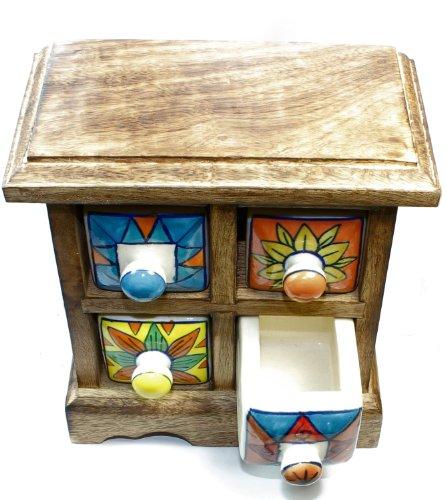 Budawi® - Apothekerschränkchen Gewürzschrank 4 Schubladen - Keramikkommode Schrank Schmuckkästchen Holz Apothekerschrank Kommode