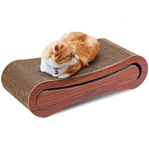 COSTWAY 2-in-1 Katzen Kratzpappe Liegefläche, Kratzbrett Kratzfläche mit Katzenminze, Kratzmöbel Katzenspielzeug Katzen Lounge Kratzmatten