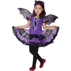 Fossen Disfraz Halloween Niñas 2-15 Años Vestidos y Sombrero Bruja Ropa Costume Vestirse