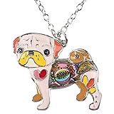 BONSNY Love Heart Enamel Zinc Alloy Metal Pug Dog Necklace Bulldog Animal Pendant 18' (Pink)