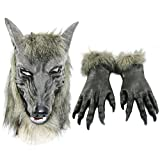 Odowalker Halloween Werewolf Costume Wolf Claws Gloves and Head Mask (Both of Them) Gray