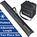 SEEHONOR Padded Ski Bag and Boot Bag Combo, Store Transport Skis Up to 79 Inch and Boots Up to Size 13, Two-Piece Ski Sleeve and Ski Boot Bags