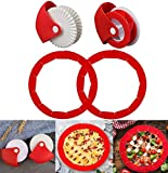 4PCS Pie Crust Set, Adjustable Silicone Pie Crust Protector Pastry Wheel Decorator and Cutter Silicone Pie Protectors Cover Kitchen Tool for Baking Pie Pizza
