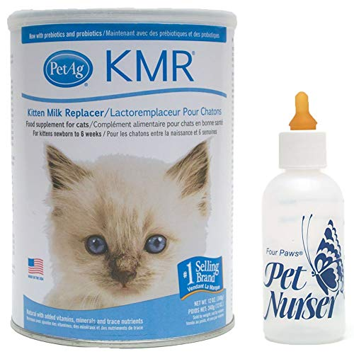 AP Taber Store PetAg KMR Kitten Milk Replacement Bundle with Four Paws Kitten Nursing Bottle