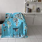 Home Decor Throw Blanket Guide Animals World Map Geography SkyBlue Multicolor Print Movie Camping Stadium Picnic Women Cute Queen Big Size 70x90 inch