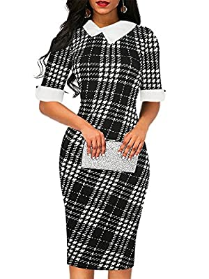 Dress Material: 65%Cotton and 35%Polyester. Perfect Sheath Dress: slimming bodycon top, Peter pan collar,half sleeve,floral,polka dot, formal solid black, knee length, concealed back zipper. The dress is elegant it self. It's simple but elegant and c...