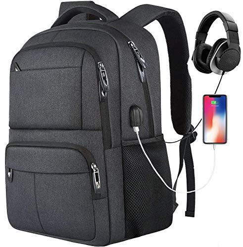 Rucksack Herren,Schulrucksack Jungen Teenager mit USB-Ladeanschluss und 15.6 Zoll Laptopfach,Laptop Rucksack für Arbeit Business Schule Universität