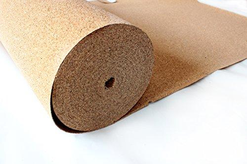 VersaCork Rotolo di sughero, spessore 2 mm, 30 mq (30 x 1 m), tappetino isolante, pavimenti in...