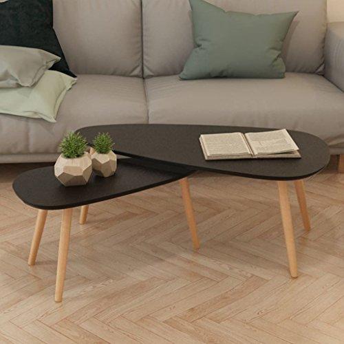 Tidyard Set di 2 Tavolini da caffè, Tavolino da caffè in Legno Ovale, 100x50x40 cm / 70x34,5x35 cm Nero