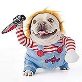FayTun Disfraz de muñeca Mortal para Perro, Disfraz de Halloween para Perros, Disfraz de Cosplay Ajustable para Perros, Disfraz Divertido de muñeca le (S)