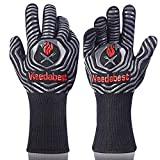 SUMPRO Hot BBQ Gloves Heat Resistant Kitchen Oven Mitts Professional Long Heat Resistant Cooking...