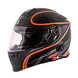 TORC Unisex-Adult Flip-Up Motorcycle Helmet (Matte Black Orange, X-Large)