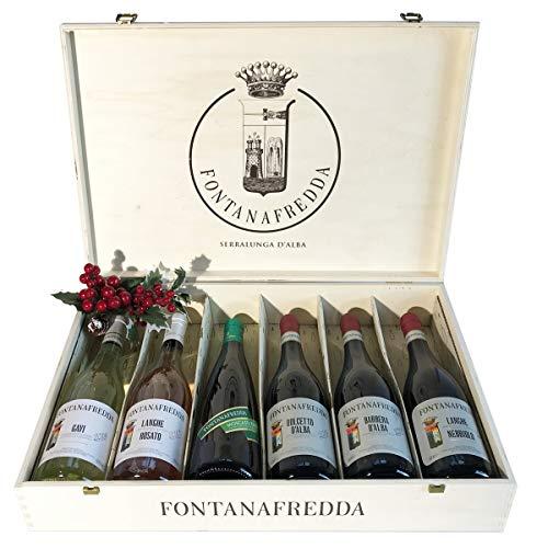 Selezione Vini Importanti Fontanafredda in Cassetta Legno Originale - Confezioni Regalo Vino per Ogni Occasione Importante - cod 218