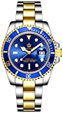Mens Luxury Watches Ceramic Bezel Sapphire Glass Luminous Quartz Silver Gold Two Tone Stainless Steel Watch (Gold Blue)