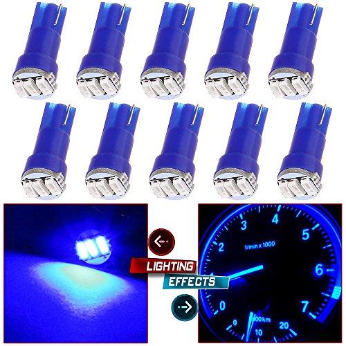 10 Pack T5 73 Wedge 3-3014SMD Instrument Gauge Dash Light LED Bulbs (Blue)
