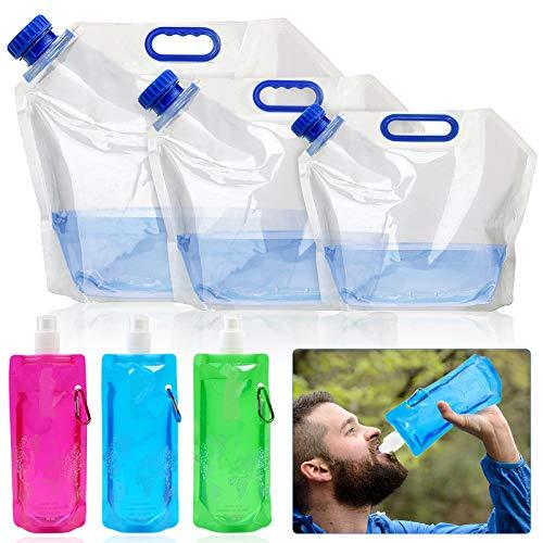 3 Pz Tanica Acqua Pieghevole 15L 10L 5L e 3 Pz 500ml Borracce Bottiglia Acqua Pieghevole Contenitore Acqua di Riutilizzabile per Escursionismo Campeggio Picnic Viaggio BBQ - Plastica PE, BPA-Free