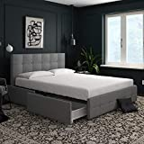 DHP Rose Linen Tufted Upholstered Platform Bed with Storage - Gray Linen - Queen