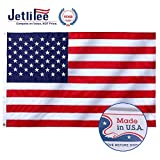 Jetlifee American Flag 3x5 Ft - by U.S. Veterans Owned Biz. 100% American Nylon USA Flag Tough Embroidered Stars, Lock Stitched Sewn Stripes, Brass Grommets, UV Protected American Flags (Made in USA)