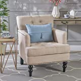Christopher Knight Home 237355  Tufted Club, Decorative Accent Chair with Studded Details-Beige, Grey