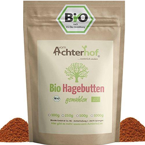 Bio Hagebuttenpulver 1Kg | ganze Hagebutte gemahlen | 100% ECHTES Bio Hagebutten Pulver in Rohkostqualität