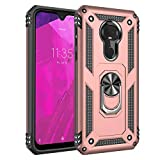 Phone Case for [T-Mobile REVVLRY Plus (6.24 inch)], [Ring Series][Rose Gold] Full Rotating Metal Ring Shockproof Defender Cover with Built-in Kickstand for T-Mobile REVVLRY Plus (6.24 inch, 2019)