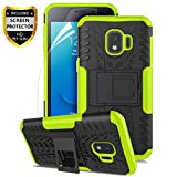 Numy Samsung Galaxy J2 Case,Galaxy J2 Core Case/Galaxy J2 Dash/J2 Pure/J2 Shine/J260, Dual Layer Shockproof,w HD Screen Protector,Protective w Kickstand Hard PC & Soft TPU Case,Tire Appearance-Green