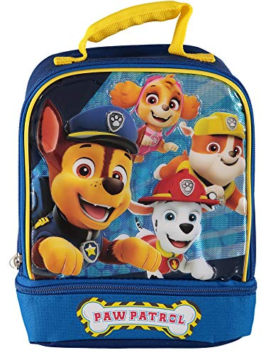 Nickelodeon Paw Patrol Dual Insulated Lunch Bag Dome Lunch Kit (Blue/Yellow)