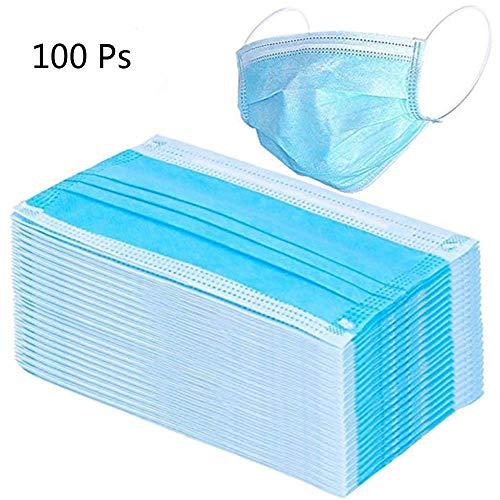 100 PCS Maschera Anti Polvere Medica Monouso 3 Strati Anti Polvere per l'Influenza Bocca Viso Mascherine Prendi Raffreddore Chirurgiche Dentisti Allergie Giardinaggio, Blu