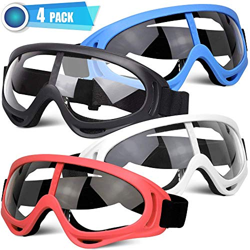 POKONBOY 4 Pack Protective Goggles Safety Glasses Eyewear Face Mask Compatible with Nerf Guns for Kids Teens Game Battle (4 Colors)