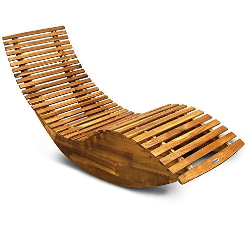 Schwungliege   FSC®-zertifiziertes Akazienholz Ergonomisch Wippfunktion   Gartenliege Sonnenliege Relaxliege Saunaliege