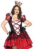 Leg Avenue Women's Plus 2pc.Plus Size Royal Queen, Satin Dress and Crown Headpiece, Black/Red, 1X / 2X