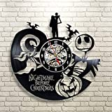 Kovides The Nightmare Before Christmas Wall Clock Decorations for Kids Room LP Clock Nightmare Before Xmas Wall Art Retro Vinyl Record Clock Vintage Wall Clock Gift Idea Nightmare Before Xmas Decals