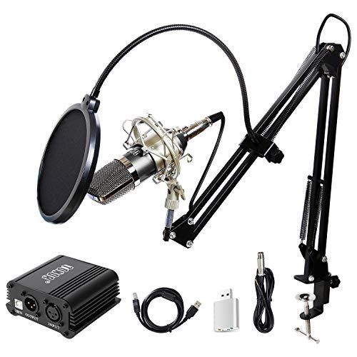 TONOR BM-700 Microfono a Condensatore Kit di Microfono con Alimentatore 48V Phantom, NW-35 Stand Asta di Sospensione Braccio a Forbici con Supporto Anti-vibrazione, Cavo XLR a 3.5mm Nero
