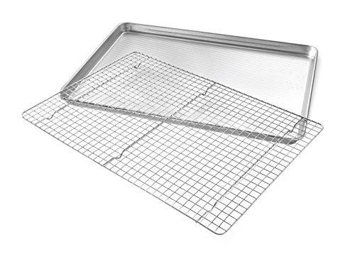USA Pan Bakeware Extra Large Sheet Baking Pan and Bakeable Nonstick Cooling Rack Set, XL, Metal