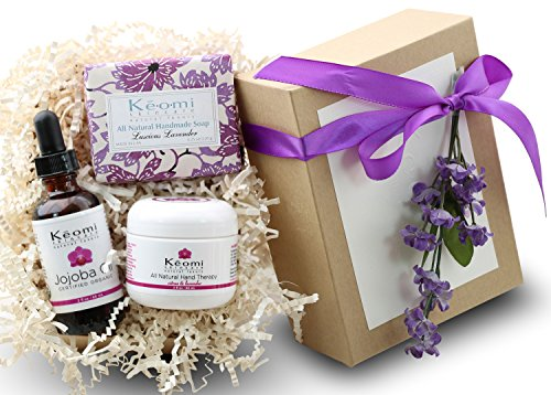 Lavender Organic Handmade Bath & Body Gift Set - by KEOMI NATURALS - Pamper Them w/All Natural Luxury! - 100% Pure Essential Oils - Beautifully Packaged Ready to Give