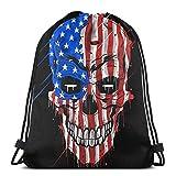 IUBBKI Skull Head America Flag Mochila con cordón Mochila deportiva ligera Bolsa de gimnasio de gran tamaño Mochila de cuerda impermeable para yoga Viajes Compras Hombres Mujeres