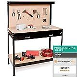 tectake Établi d'atelier   en Bois et Acier   avec Panneau à Outils et tiroir de Rangement - diverses Tailles au Choix (120x60x156cm   No. 400855)