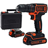 BLACK+DECKER BDCDC18KB-QW BDCDC18KB-QW-Taladro Atornillador 18V con 2 baterías 1,5Ah y maletín, 18 V, Set of 5 Pieces