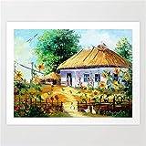 mlpnko DIY Pintar por números Pueblo ucraniano Pintar por Numeros para Adultos Niños Pintura por Números con Pinceles y Pinturas, DIY Conjunto Completo