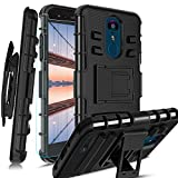 Toyouu for LG Aristo 2 Case/Aristo 3/Rebel 4 LTE/Tribute Dynasty/Tribute Empire/Fortune 2/Phonenix 4 Phone Case with Tempered Glass Screen Protector Built-in Kickstand Full Body Armor (Black)
