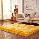 LoveHouse Super Soft Area Rug Fluffy Faux Fur Rug for Living Room Bedroom Bedside Shaggy Carpet Rug Nursery Non Slip Washable Floor Mat-Yellow 50x90cm(20x35inch)