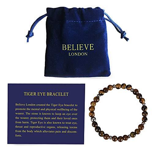 Believe London Tiger Eye Bracelet with Jewelry Bag & Meaning...