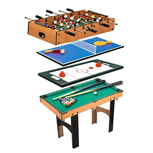 homcom Tavolo Multi Gioco 4 in 1 con Calcio Balilla, Hockey da Tavolo, Ping Pong e Biliardo in Legno MDF, 87 x 43 x 73cm