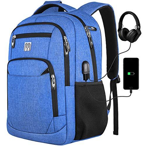 Rucksack Arbeit, Schulrucksack Jungen Mädchen Teenager mit USB-Ladeanschluss für Reisen Camping Schule Büro, Blau