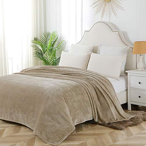 Bourina Flannel Blanket Throw Lightweight Cozy Plush Microfiber Solid Fleece Blanket,King 108'x90' Beige